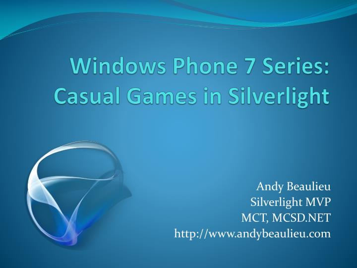 windows phone 7 series casual games in silverlight