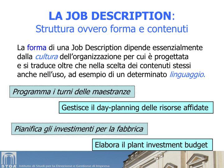 LA JOB DESCRIPTION