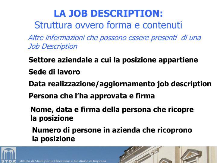 LA JOB DESCRIPTION: