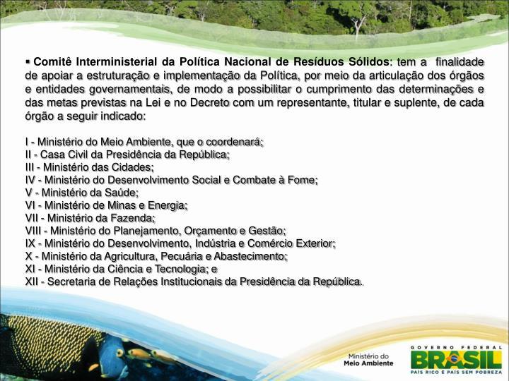 Comitê Interministerial da Política Nacional de Resíduos Sólidos