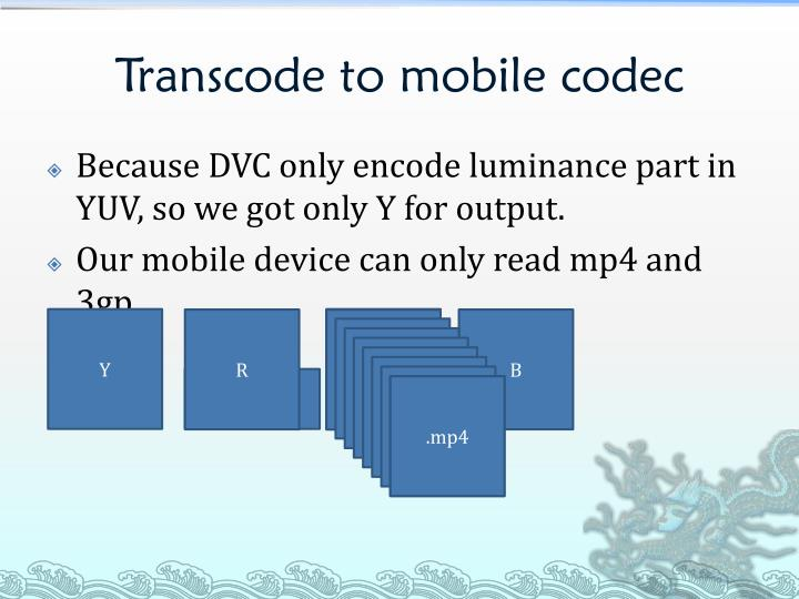 Transcode to mobile codec