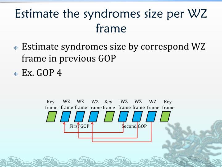 Estimate the syndromes size per WZ frame