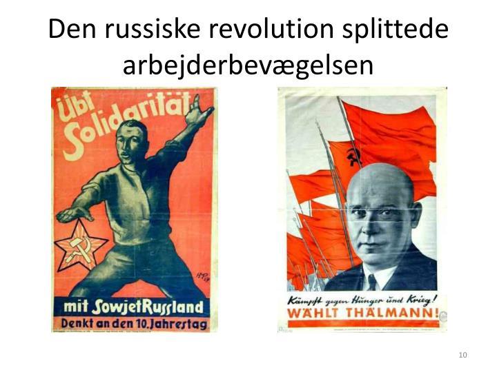 Den russiske revolution splittede arbejderbevægelsen
