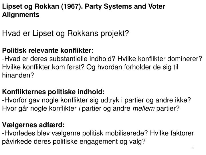 Lipset og Rokkan (1967). Party Systems and Voter Alignments