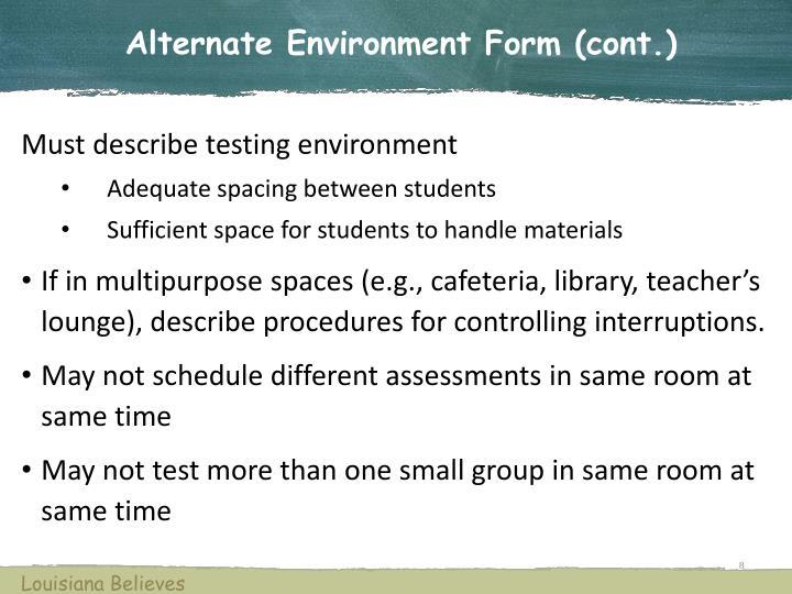 Alternate Environment Form (cont.)