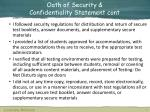 oath of security confidentiality statement cont