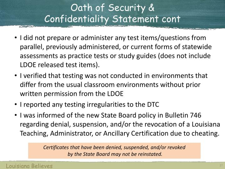 Oath of Security &