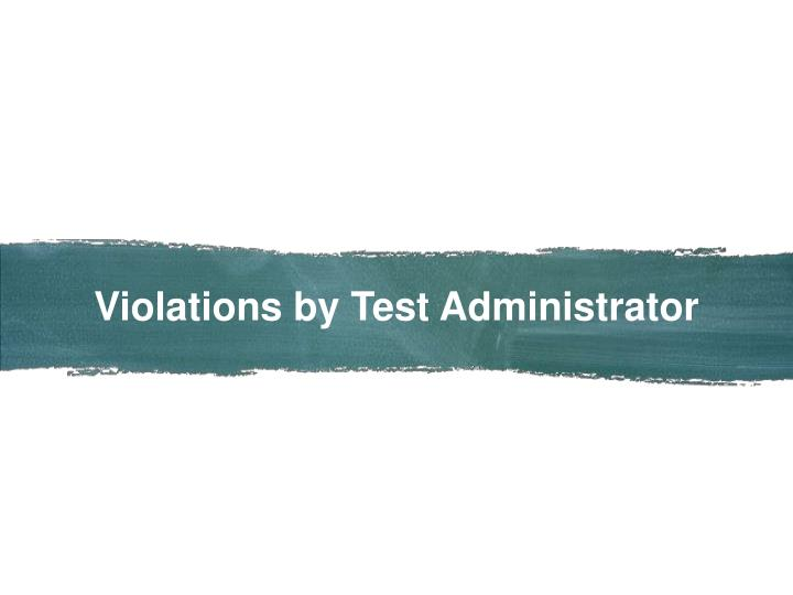 Violations by Test Administrator