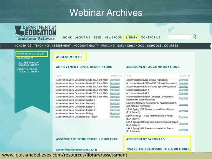 Webinar Archives