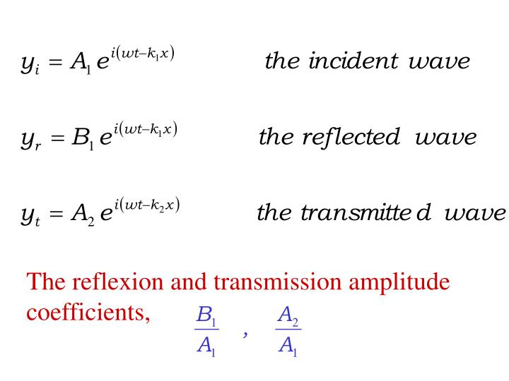 The reflexion and transmission amplitude coefficients,
