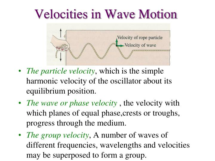 Velocities in Wave Motion