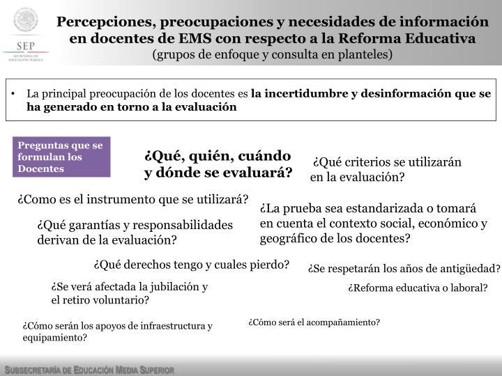 Percepciones, preocupaciones y necesidades de información