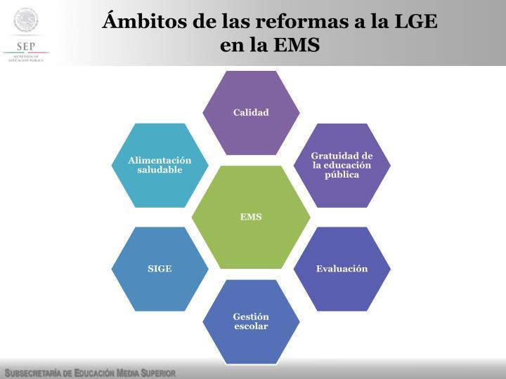 Ámbitos de las reformas a la LGE