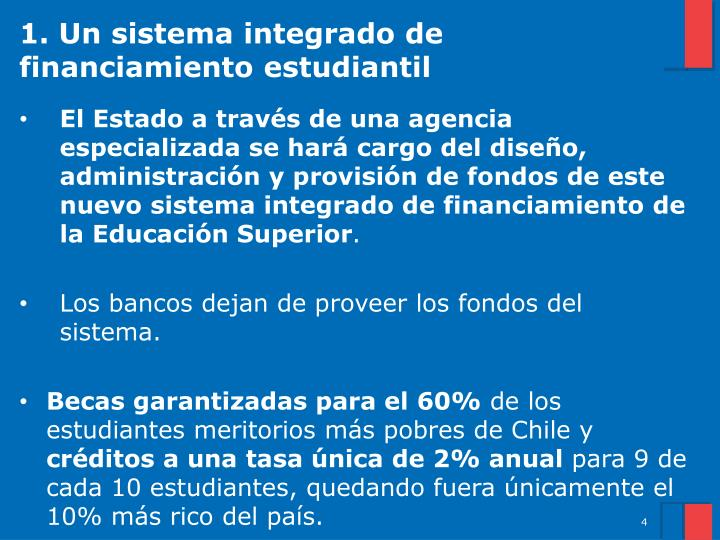 1. Un sistema integrado de financiamiento estudiantil