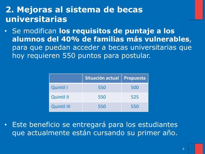 2. Mejoras al sistema de becas universitarias