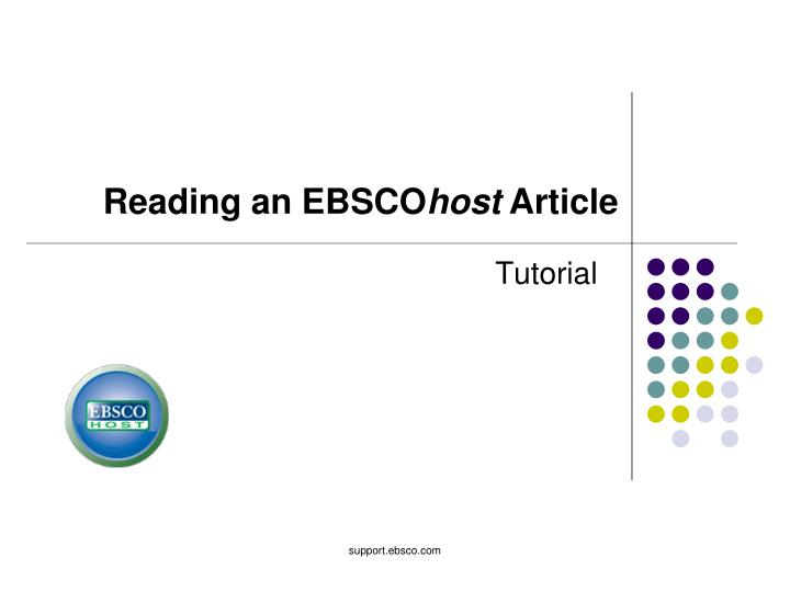 Reading an EBSCO