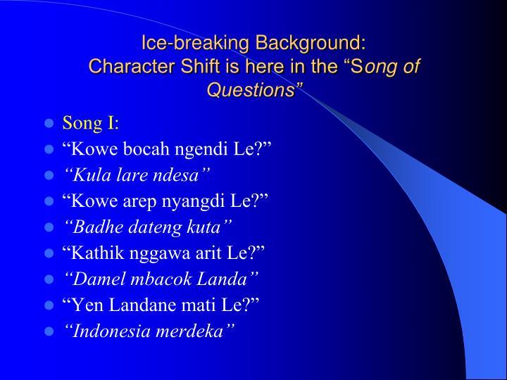 Ice-breaking Background: