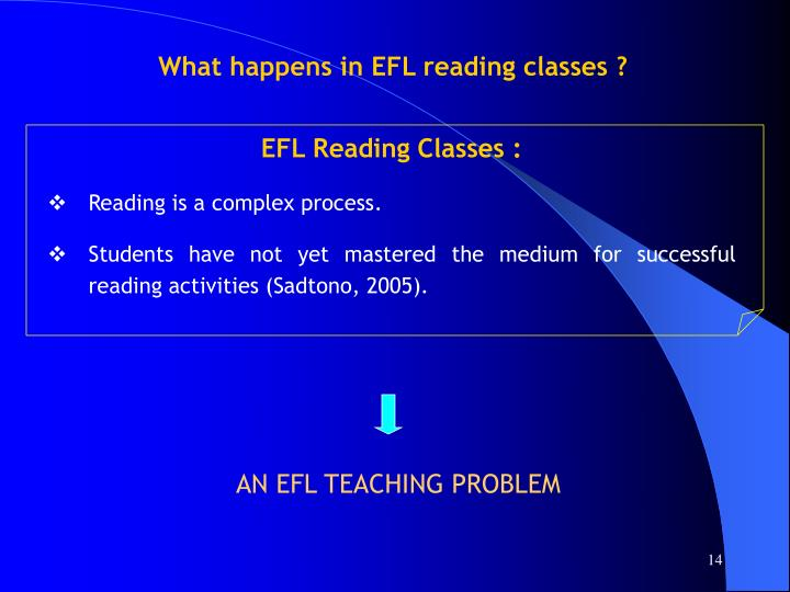 What happens in EFL reading classes ?