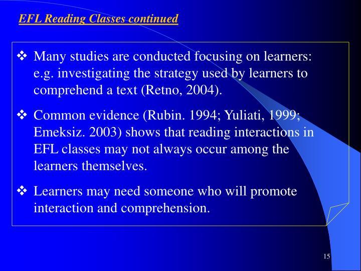 EFL Reading Classes continued