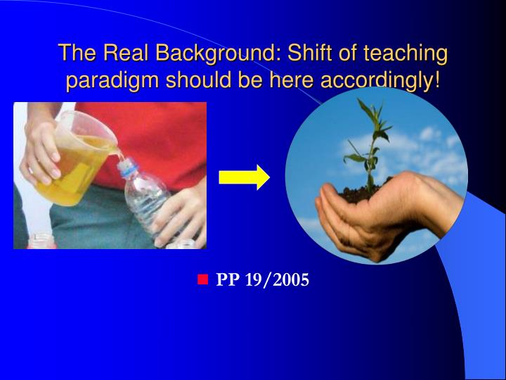 The Real Background: Shift of teaching paradigm should be here accordingly!