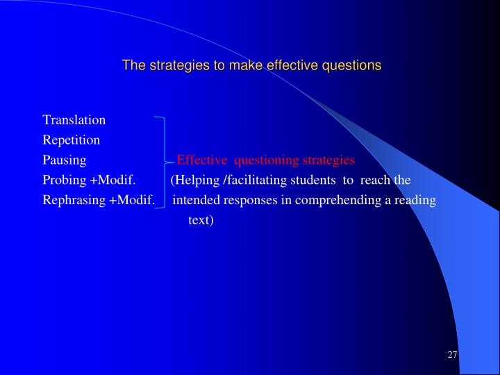 The strategies to make effective questions