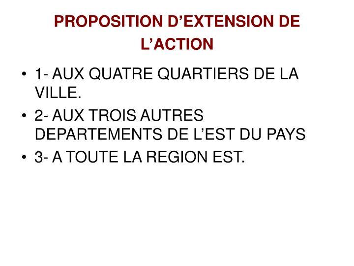 PROPOSITION D'EXTENSION DE L'ACTION