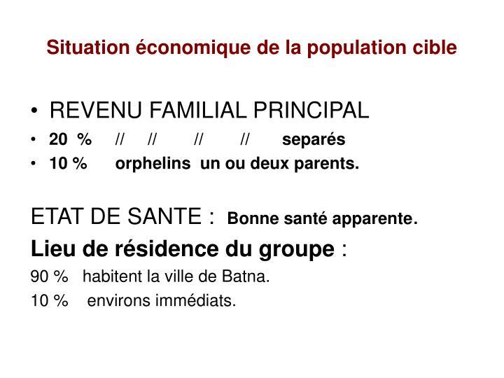 Situation économique de la population cible