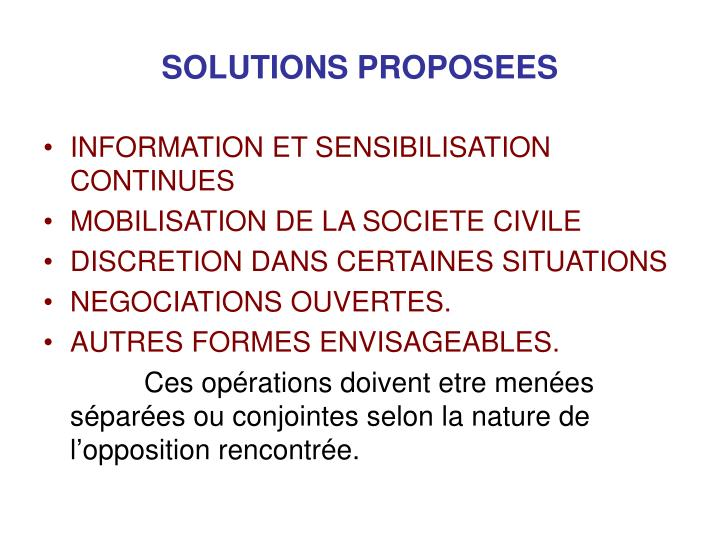 SOLUTIONS PROPOSEES
