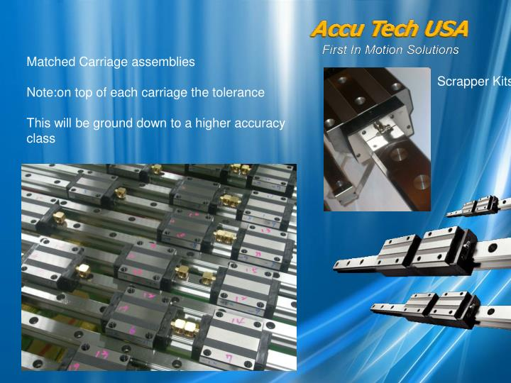 Matched Carriage assemblies