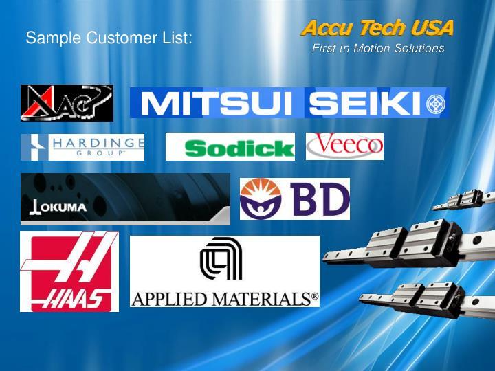 Sample Customer List: