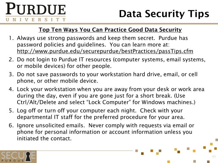 Data Security Tips