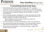 transmitting restricted data