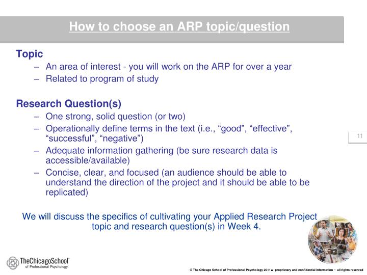 How to choose an ARP topic/question