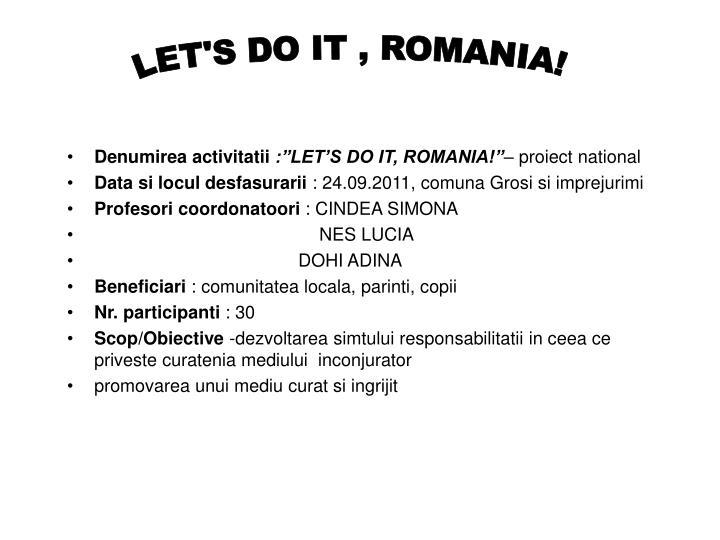 LET'S DO IT , ROMANIA!