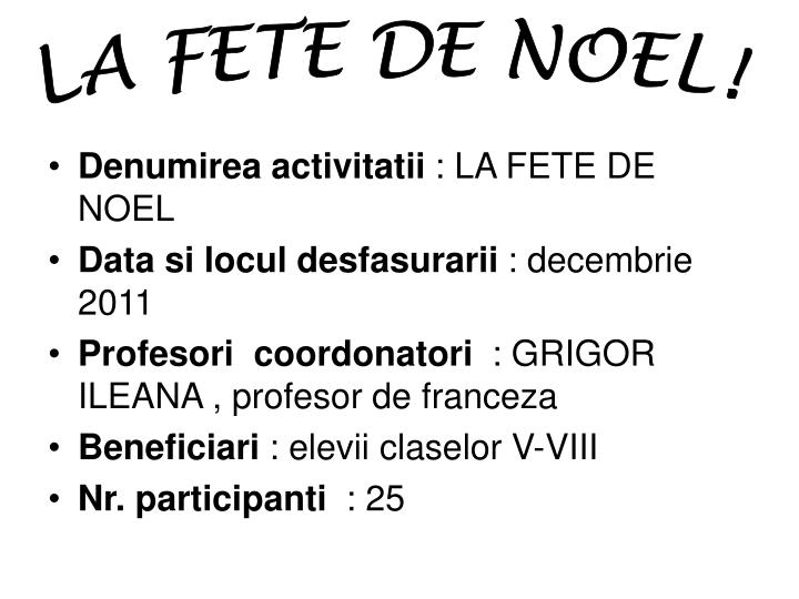 LA FETE DE NOEL!