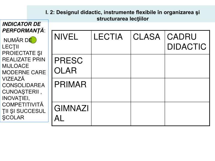 I. 2: Designul didactic, instrumente flexibile în organizarea şi structurarea lecţiilor
