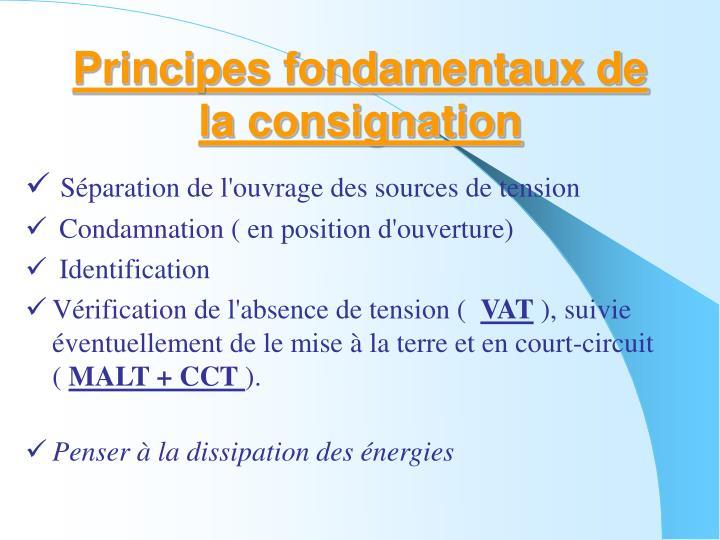 Principes fondamentaux de la consignation
