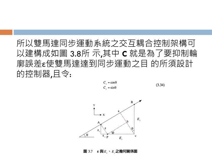所以雙馬達同步運動系統之交互耦合控制架構可以建構成如圖