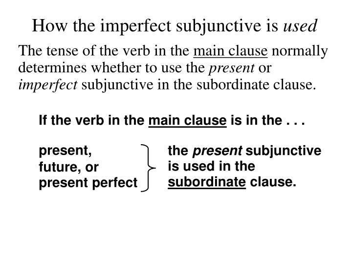 How the imperfect subjunctive is