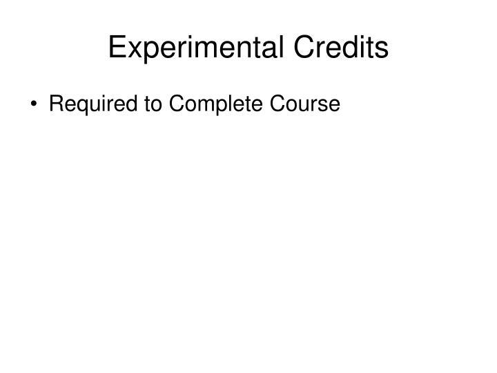 Experimental Credits