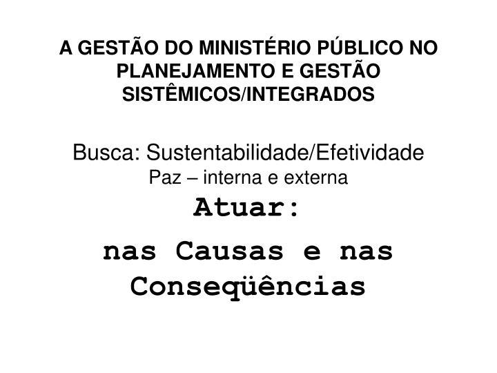A GESTÃO DO MINISTÉRIO PÚBLICO NO PLANEJAMENTO E GESTÃO SISTÊMICOS/INTEGRADOS
