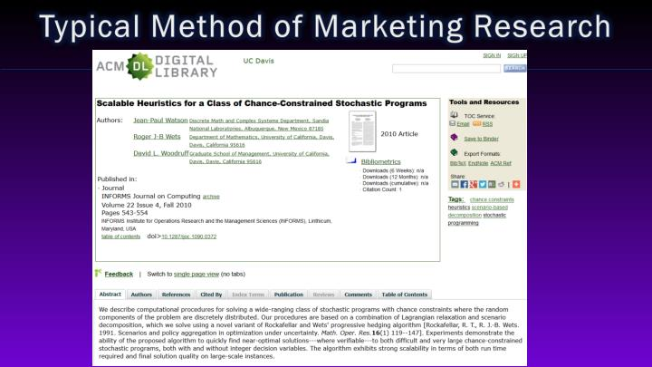 Typical Method of Marketing
