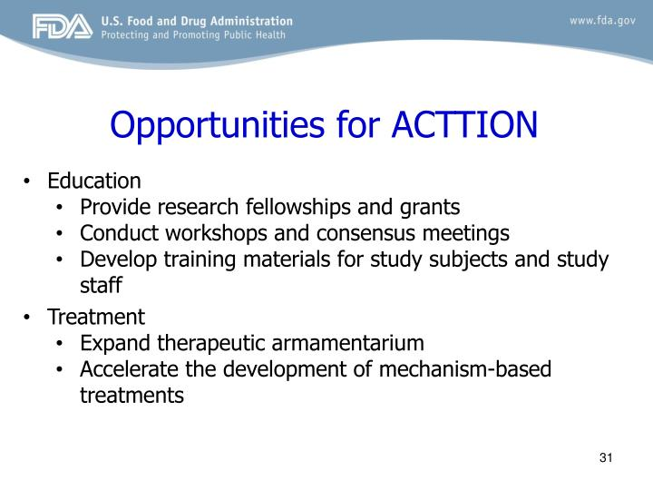 Opportunities for ACTTION