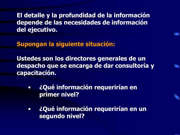 El detalle y la profundidad de la información depende de las necesidades de información del ejecutivo.
