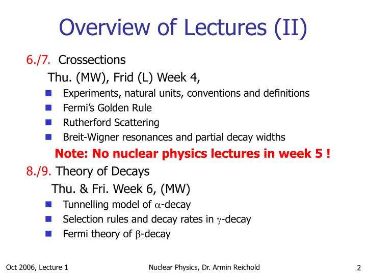 Overview of lectures ii