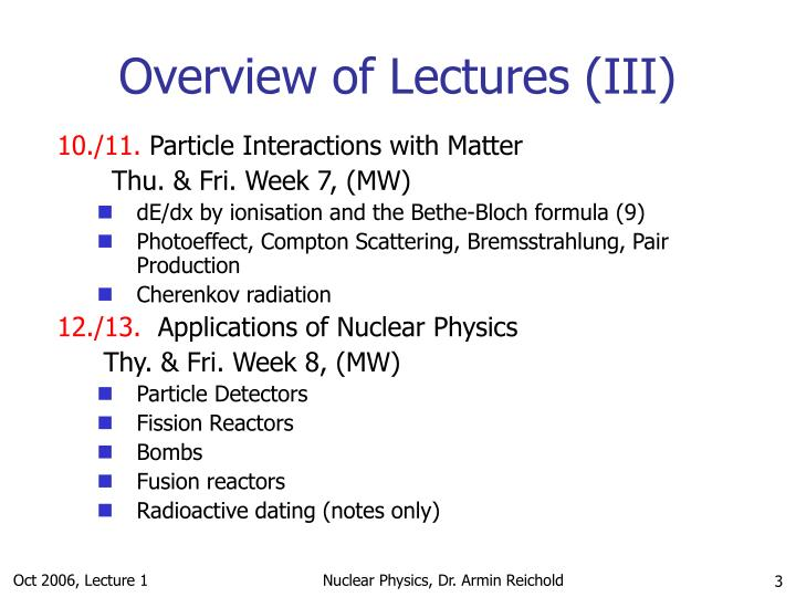 Overview of lectures iii