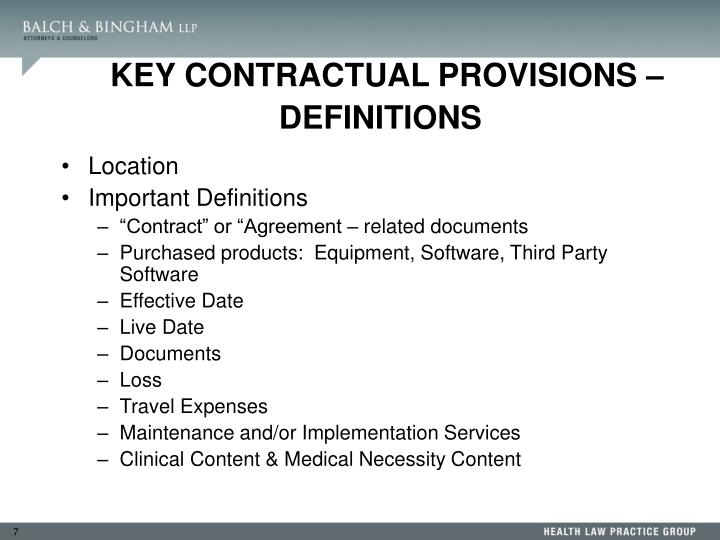 KEY CONTRACTUAL PROVISIONS – DEFINITIONS