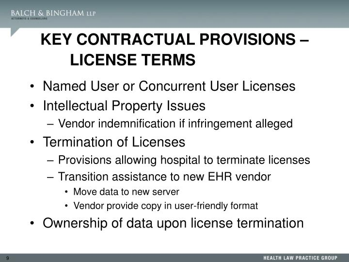 KEY CONTRACTUAL PROVISIONS – LICENSE TERMS