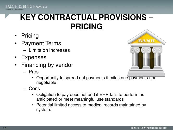 KEY CONTRACTUAL PROVISIONS – PRICING