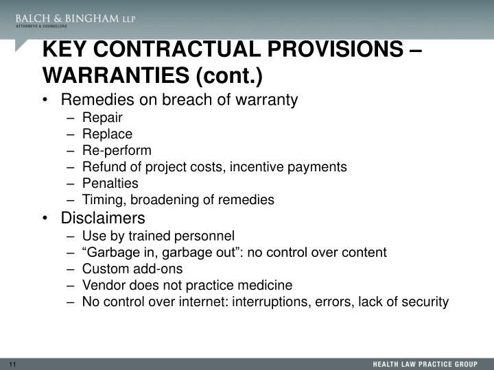 KEY CONTRACTUAL PROVISIONS – WARRANTIES (cont.)